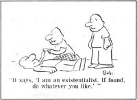 """It says, 'I am an existentialist. If found, do whatever you like.'"""