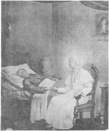 Drawing of St Pius X appearing at the bedside of Francis Belsani