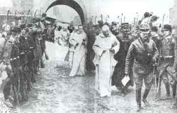 Carthusian monks being arrested and led from their monastery